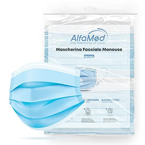 ALFAMED 50 Mascherine Chirurgiche 3 Strati, Made in Italy, Mascherina Blu, Certificata CE, Traspirante Con Nasello Regolabile