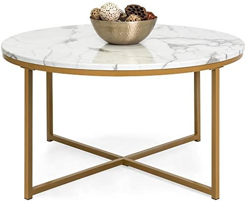 Best Best Choice Products 36in Faux Marble Modern Living Room Round Accent Side Coffee Table w/Metal Fram