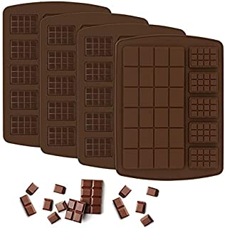 4 Pack Chocolate Bar Mold/ Break Apart Silicone Candy Mold Protein Engery Bar Mold for Pralines Caramels Ganache
