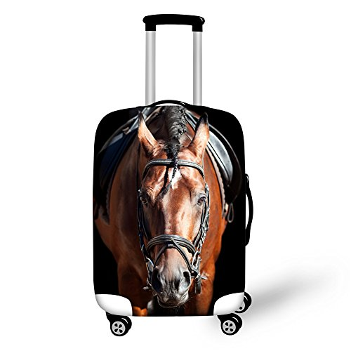 INSTANTARTS Fashion Horse Brown Spandex Luggage Cover Protector Apply to 22-26 inch Suitcase M