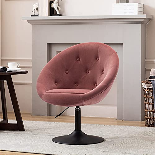 Duhome Vanity Stool Chairs,Velvet Makeup Dressing Chair with Modern Stool Adjustable Round Pink