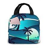 ZYWL Bolsa de almuerzo aislada con estampado de olas y palmeras para mujeres, capacidad, reutilizable, impermeable, bolsa de almuerzo, lonchera para adolescentes, niñas, escuela, viaje, picnic