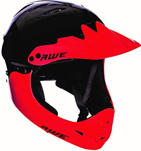 AWE® Casco de BMX de cara completa, negro/rojo, mediano 54-58 cm, para niños y adultos gratis 5 años de reemplazo