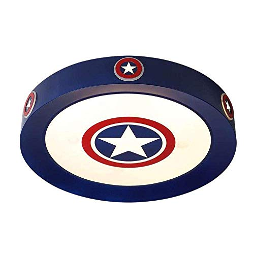 MKKM Luz de Techo, Techo de la Sala Infantil S Luces Lámparas Led Niños S Moderno Dormitorio de Dibujos Animados Capitán América Decorativo Iluminación Regulable con la Protección de Los Ojos de Cont