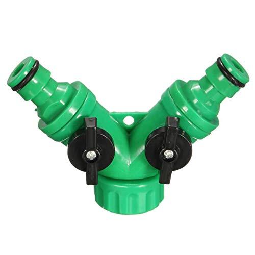 Divisor de manguera de jardín, adaptador de conector rápido de 2 vías para uso al aire libre, conector de manguera de válvula Y para riego universal, herramienta de jardín de apagado rápido - verde
