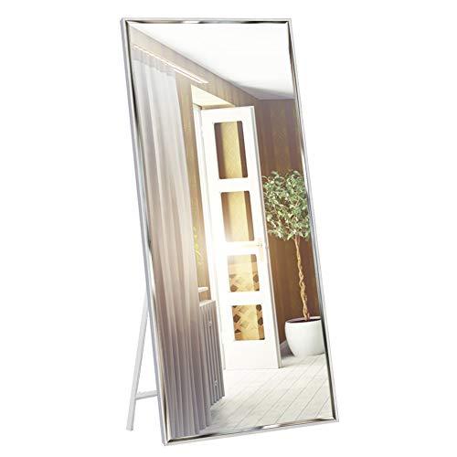 EONO Essentials 165 x 61cm Ankleidespiegel Ganzkörperspiegel mit weißem Rahmen und Splitterschutz, großer Wandspiegel oder Standspiegel