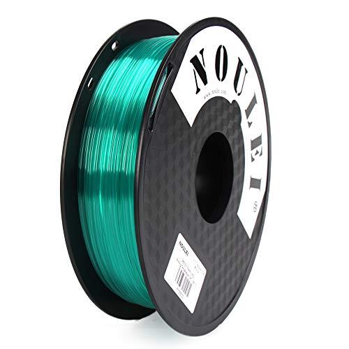 Noulei PETG 3D Printer Filament 1.75mm, Strong 3D Printing Filament, (Transparent Canal Blue, 0.5kg 500g)