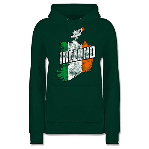Länder - Ireland Umriss Vintage - S - Dunkelgrün - Ireland Hoodie - JH001F - Damen Hoodie und Kapuzenpullover für Frauen