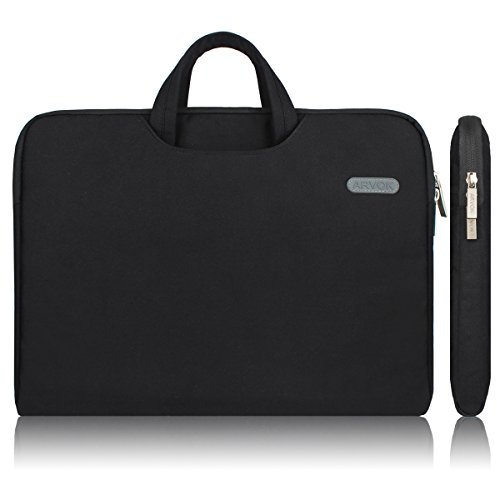 Arvok 13 13.3 14 Inch Water-resistant Canvas Fabric Laptop Sleeve with Handle & Zipper Pocket/Notebook Computer Case/Ultrabook Tablet Briefcase Carrying Bag/Pouch Skin Cover for Acer/Asus/Dell, Black