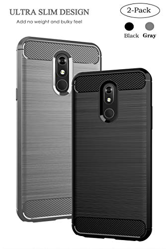 Sfmn 2-Pack Case for LG Stylo 5 Case Carbon Fiber Brushed Texture Soft TPU Full-Body Protective Cover Phone Case for LG Stylo 5 Phone Case,LG Stylo 5v Case (Black+Gray)