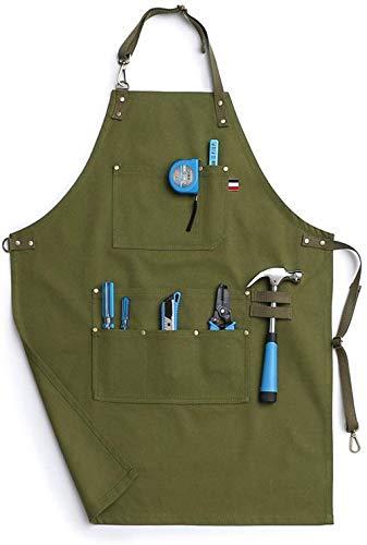 Delantal de mezclilla de algodón para hombre, con bolsillos para herramientas, profesional, resistente