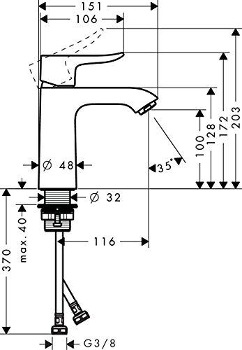 Hansgrohe – Einhebel-Waschtischmischer, ComfortZone 110, Chrom, Serie Metris - 5