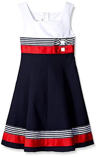 Bonnie Jean Girls Easter Scuba Special Ocassion Dress (12, Navy/Red)