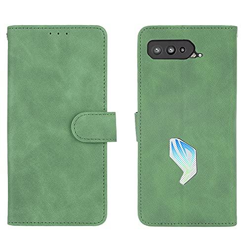 GOGME Leder Hülle für Asus ROG Phone 5 Hülle, Premium PU/TPU Leder Folio Hülle Schutzhülle Handyhülle, Flip Hülle Klapphülle Lederhülle mit Standfunktion und Kartensteckplätzen, Grün