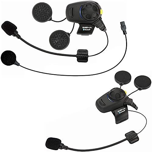Sena SMH5D-FM-UNIV Auricular e intercomunicador Bluetooth con radio FM integrada para motos y scooters, Con el kit de micrófono universal, paquete doble, 2 piezas
