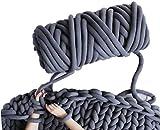 Arm Knit Yarn for Chunky Braided Knot Throw Blanket DIY,2.3 lbs Cozy Jumbo Extra Cotton Tube Bulky Giant Yarn for Weave Craft Crochet (Dark Grey, 2.3 lbs / 47 Yards)