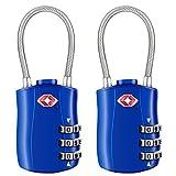 [2 Stück] TSA Gepäckschlösser, Diyife 3-stelliges Sicherheitsschloss, Kombinationsschlösser, Codeschloss für Reisekoffer Gepäcktasche Etui etc. (Blau)