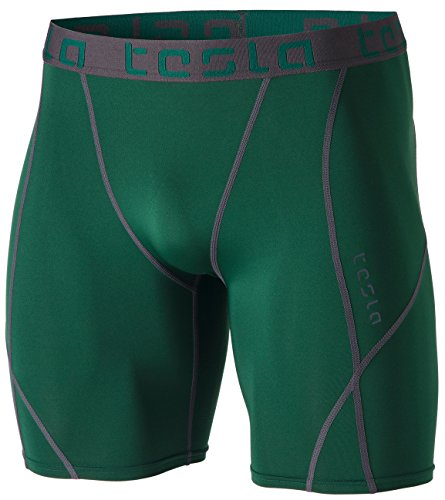 TSLA Men's Athletic Compression Shorts, Sports Performance Active Cool Dry Running Tights, Athletic Shorts Green, Medium