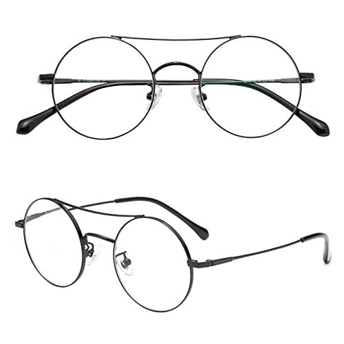 JIMMY ORANGE 老眼鏡 丸メガネ 正円 おしゃれ 軽い ブルーライトカット チタン合金 メンズ レディース 軽量 携帯用 リーディンググラス ブラック 度数+150 JO8319