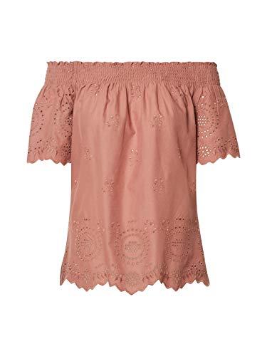 ONLY Damen Onlnew SHERY EMB ANG Off Shoulde DNM TOP Bluse, Braun (Burlwood Burlwood), Large (Herstellergröße: 40)