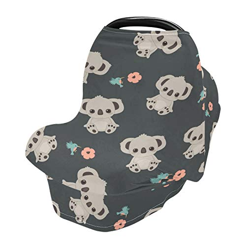 Stretchy Baby Car Seat Covers for Boys Girls Cartoon Koala Infant Car Canopy Nursing Cover Breastfeeding Scarf