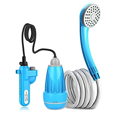 innhom Portable Shower for Camping Outdoor Camp Shower Camping Shower Camp Shower Pump, Electric Rechargeable Portable Shower, Powered by Rechargeable Battery or Car Cigarette Lighter, 1 Year Warranty