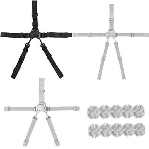 Binjor 3Pcs Universal arnés de 5 puntos ajustable Cinturón de seguridad para bebé Correa de seguridad De Cinco Puntos para silla alta con 10 Cubierta de seguridad para toma de corriente 2 agujeros