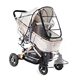 Diagtree Stroller Rain Cover Universal, Baby Travel Weather Shield, Windproof Waterproof, Protect from Dust Snow Insects (Black-L)