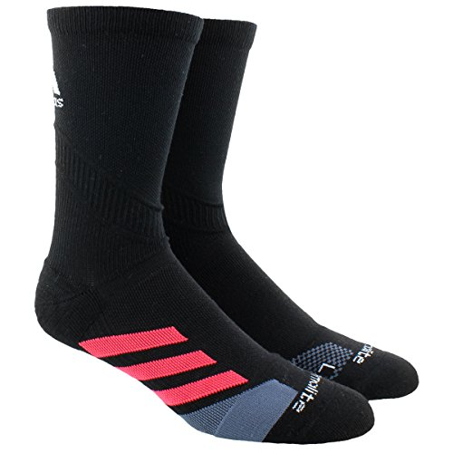 adidas Unisex Traxion Tennis Crew Sock (1-Pair), Black/Shock Red/Onix/White, Large, (Shoe Size...