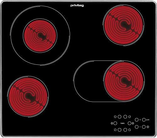 Privileg PCTAC 6042 IN Glaskeramik-Kochfeld / 60 cm/Zweikreis-Zone/Bräter-Zone/Kindersicherung/Timer mit Abschaltautomatik/Restwärmeanzeige