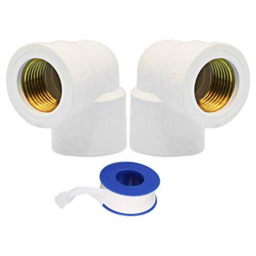 YOFASEN Conectores de tubería PVC, 32mm - 2 piezas Adaptador de accesorios de tubería de codo de ángulo de 90 ° Conector de rosca hembra + 1 piezas de cinta de plomería