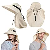 Sombrero de Sol Protección UV,Sombreros de Pesca con Extra Largo Protector de Nuca,Gorra de Safari,Gorro de ala Ancha,Sombreros de Acampada para la Actividades al Aire Libre,Mujeres y Hombres