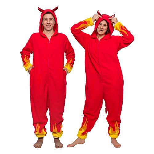 Funziez! Devil Costume Pajamas - Adult One Piece - Demon Jumpsuit (Red, Medium)