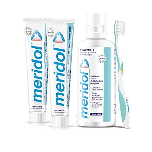 meridol Kit Gengive, 2 Dentifrici per Prevenire il Sanguinamento Occasionale delle Gengive, Spazzolino Morbido e Collutorio con Ingrediente Antibatterico