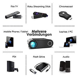 "Mini Beamer ELEPHAS, Nativ 720P HD 4500 Lumen Projektor 200"" LED Projektor, für Film Unterhaltung Spiele, unterstützt HDMI VGA AV USB Micro SD, Schwarz. MEHRWEG"