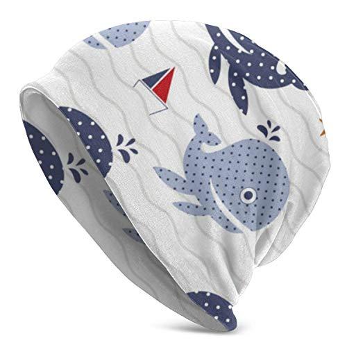 XCNGG Sombreros Gorras Skullies Gorros Knit Beanie Hat Whale Boat Cartoon Skull Cap Travel Windproof Warm Beanie Hat for Mens