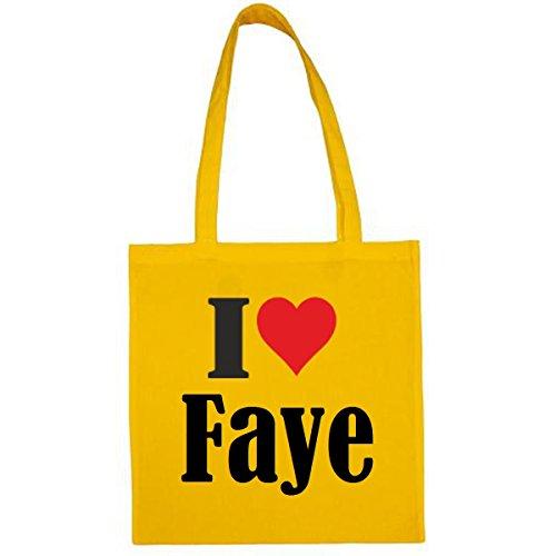 Tasche I Love Faye Größe 38x42 Farbe Gelb Druck Schwarz