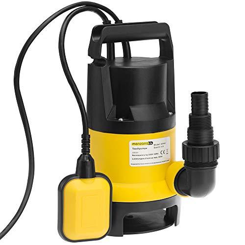 Wasserpumpe Tauchpumpe Tauchdruckpumpe | 650 Watt | 11.500 l/h | 10 m Anschlußkabel | Farbe: Schwarz/gelb | Gartenpumpe