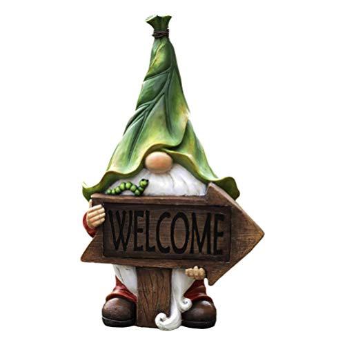 Uonlytech Giardino GNOME Statue in Resina GNOME Figurine di Trasporto Segno di Benvenuto Energia...