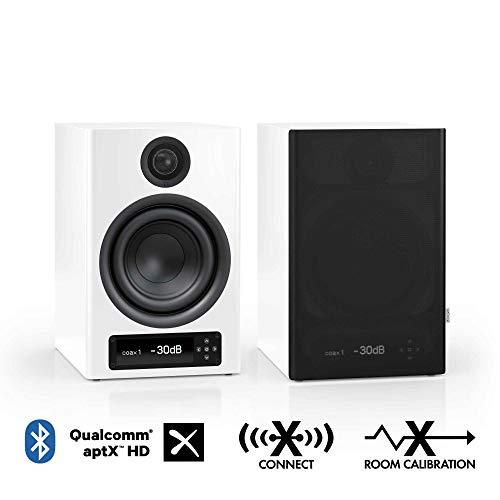 Nubert nuPro X-4000 RC Regallautsprecherpaar | Bluetooth Lautsprecher aptX HD | Lautsprecher Verbindung kabellos High Res | Schreibtischlautsprecher für Homeoffice | Kompaktlautsprecher Weiß | 2 Stück