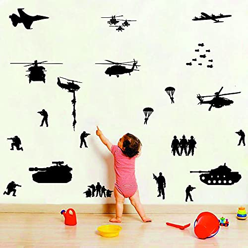 Army Tank Wall Decors Set for Wall Solider Military Helicopter Wall Stickers for Teens Boys Bedroom Kids Room Vinyl Decals (Black (JWH117))