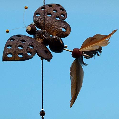Pommerntraum ® | Windspiel Mobile 3 FlatterSchmetterlinge am Band Schmetterlinge Mariposa Farfalle | geniale Gartendekoration! Naturmaterial mit echten Federn