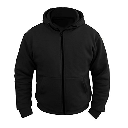 Womens Ladies Motorcycle Hoody Hoodie Fully Lined with Dupont Kevlar Aramid Fibres & CE Armour Jacket (UK 8 EU 36, Black)