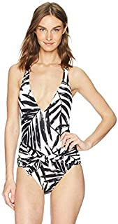 Carmen Marc Valvo Women's One Piece Swimsuit with V-Neck Detail Black 4 [並行輸入品]