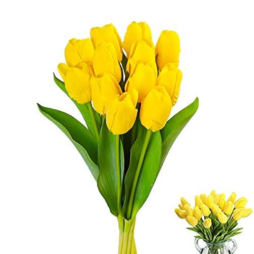 12 Piezas Ramo Flores Artificiales, Tulipanes Artificiales, Tulipanes Falsos, Flores de Tulipán Artificiales, para Banquete de Boda, Hogar, Fiestas, Jardín, Partido del Hotel, Amarillo