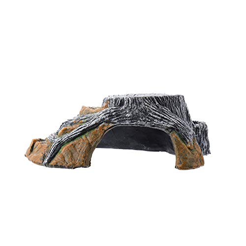 POPETPOP Escondite de Reptiles Resina Tocón de Árbol Plataforma para Tomar El Sol de Tortuga Accesorios de Acuario Pecera Hábitat de Anfibios Decoración (Talla S)