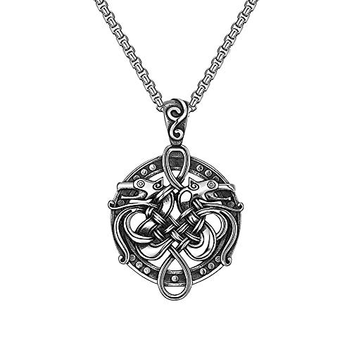 AMOZ Collar de Lobo Celta Vikingo Doble Vintage de Acero Inoxidable Recortado, Amuleto Colgante de...