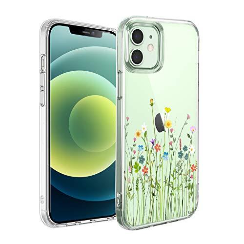 Unov Hülle Kompatibel mit iPhone 12 iPhone 12 Pro Hülle klar Transparent Schlanke Schutzhülle Weich TPU Stoßstange Geprägtes das Muster Stoßdämpfung 6.1 Zoll (Blumen Blumenstrauß)