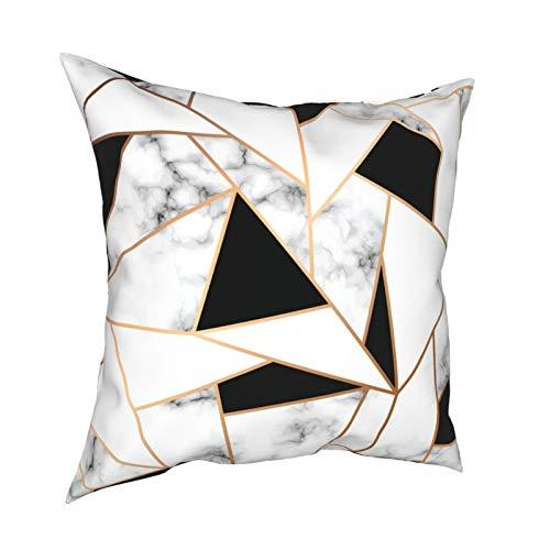 Fundas de almohada geométricas de mármol de textura agrietada 45.7 x 45.7 cm – Impresión de doble cara, fundas de almohada decorativas cuadradas para sofá, cama, coche