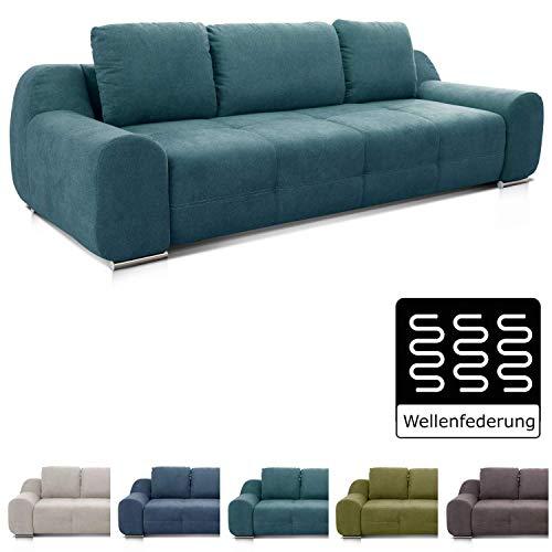 Cavadore Big Sofa Benderes / XXL-Couch mit Steppung und Ziernaht / Inkl. 3 Kissen / Chromfüße / 266 x 70 x 102 (BxHxT) / Türkis